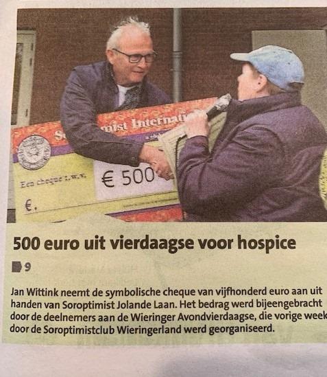 Donatie Soroptimistclub Wieringerland uit Avond4daagse Wieringen.