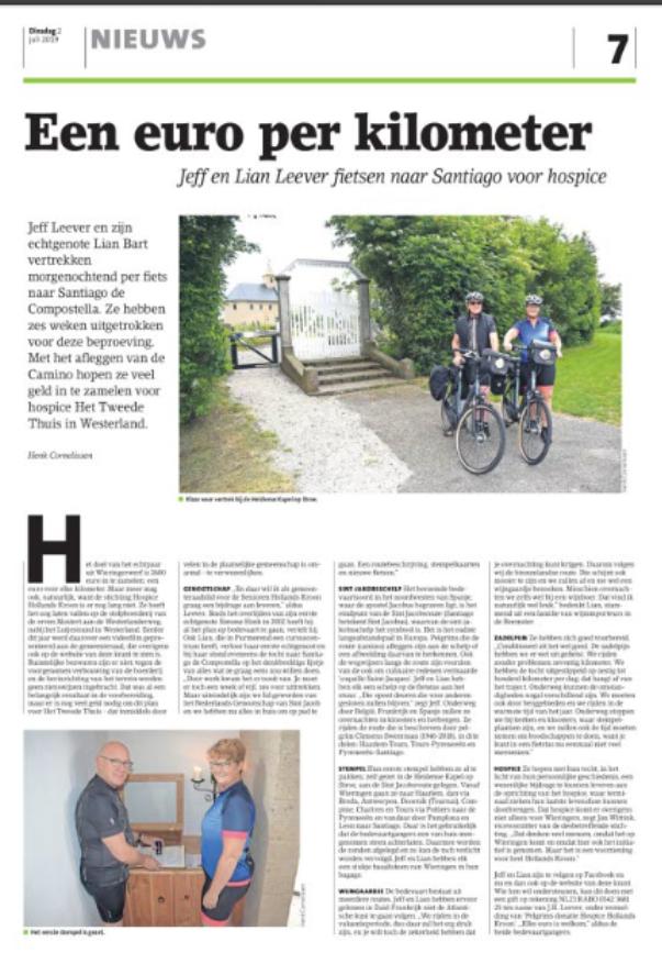 Een euro per kilometer Jeff Leever en Lian Bart naar Santiago voor Hospice Hollands Kroon.
